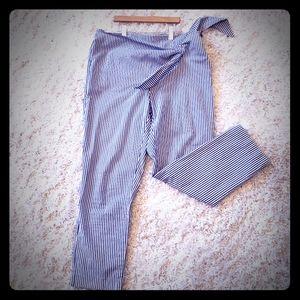 Zara ladies blue/white striped ankle pants